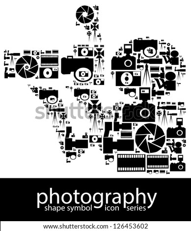 Photography icon symbols composed in the shape of a photographer with camera