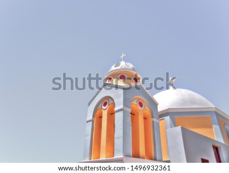 photography in santorini with beautiful blue colors of one of its most famous buildings #1496932361