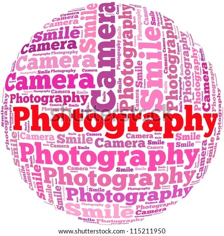 Photography info-text graphics and arrangement concept on white background (word cloud)