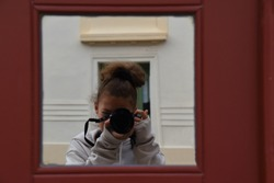Photography my beloved hobby, a little cute girl taking photo, window reflection, mirror, nikon and canon, artist, art, lessons and courses, face behind camera, portrait, lens, selfie, photographer