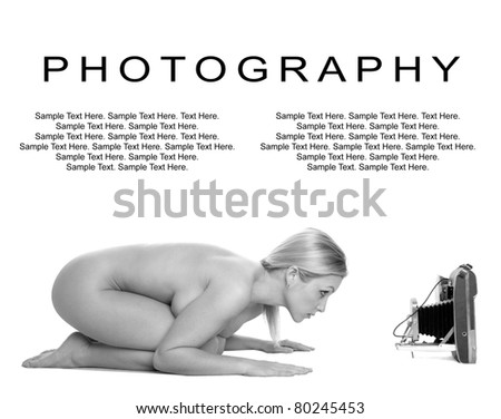 Photography of a Beautiful Sexy Woman Posing in front of a Vintage Camera with Text Space Above