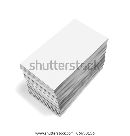 photography of a pile of blank business cards isolated on white