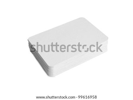 Photography of a pile of blank business cards with rounded corners isolated on white