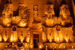 Photography of Abu Simbel temple in Night Time