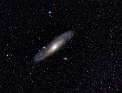 Photography of Andromede Galaxy in deep space. This picture is a stack of 200 pictures.