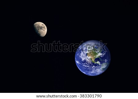 Photography of nightly sky with large moon and stars and earth on the background. Elements of earth on this image furnished by NASA.