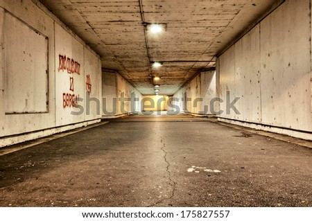 Photography of the scary tunnel at night #175827557