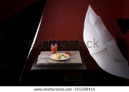 Photography set for food advertisement