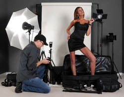 Photography Setup with Model and Photographer
