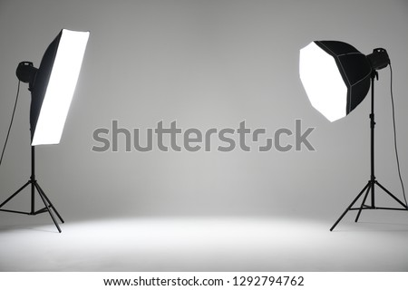 Photography Studio Infinity Wall with Spotlight Flash Lights