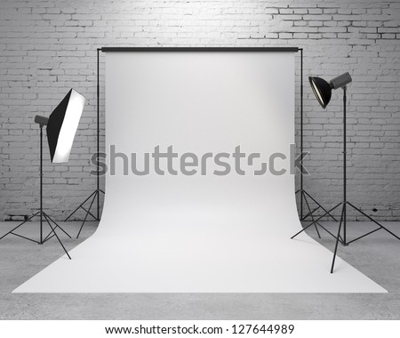 photography  studio with a light set-up and backdrop