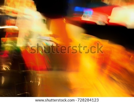 photography techniques, Blurred of colorful electricity lights at night.