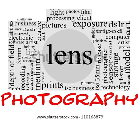 Photography Word Cloud Concept inside a camera shape with great terms such as lens, dslr, art, photographer, model, iso,  strobes, flash and more - stock photo