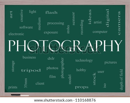 Photography Word Cloud Concept on a Blackboard with great terms such as dslr, photographer, model, iso,  strobes, flash and more