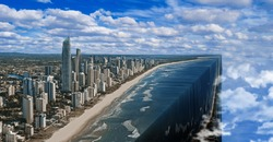 Photomanipulation of water in the Surfer Paradise of Queensland Australia