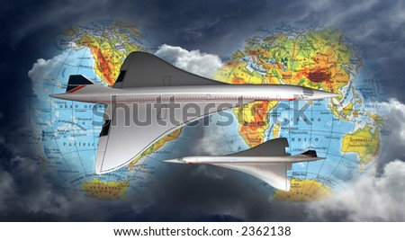 Photomontage of Concorde planes flying all over the world.
