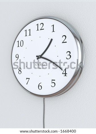 "Photorealistic 3D concept, a clock with bent hour hands, ""Office Hours"" being written on it. Concept symbolizing flexible hours."