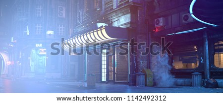 Photorealistic 3d illustration of the futuristic cityscape in the style of cyberpunk. Empty street with neon lights. Beautiful night scene.