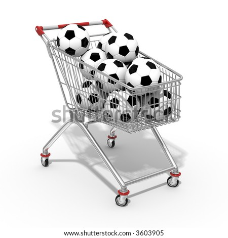 Photorealistic 3D shopping cart filled by football ball