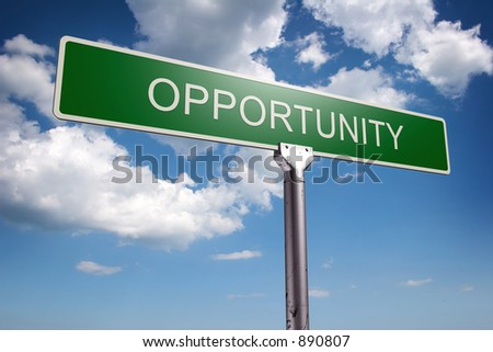 Photorealistic 3D sky-high opportunity street sign
