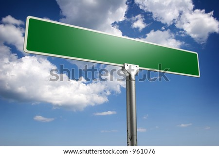 Photorealistic 3D sky-high street sign concept, empty to be personalized with your own words