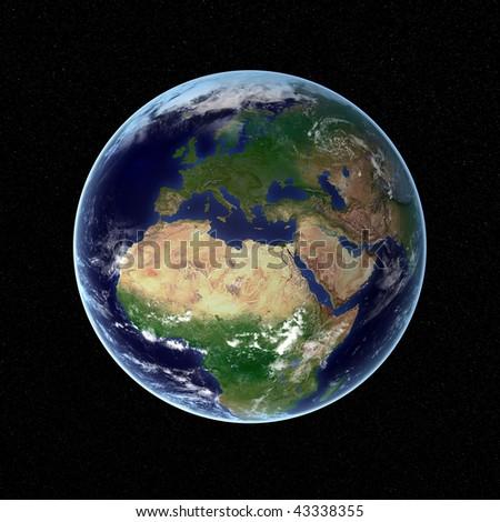 Photorealistic earth visualization - stock photo