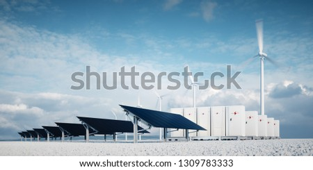 Photorealistic futuristic concept of renewable energy storage. Modern, aesthetic and efficient dark solar panel panels, a modular battery energy storage system and a wind turbine system. 3D rendering.