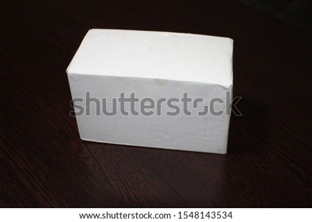 Photorealistic high quality High Rectangle Kraft Package Box Mockup on light grey background