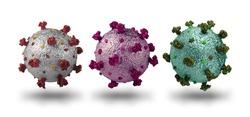 Photorealistic model of coronavirus covid-19 mutations isolated on white background, pandemic epidemic concept