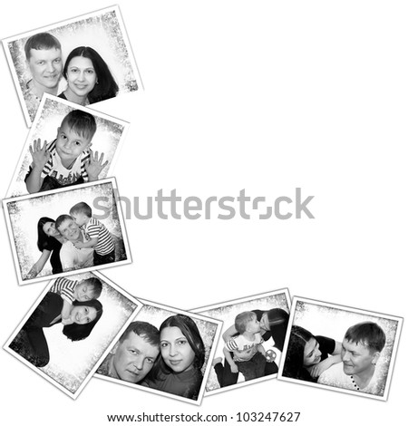 Photos background with and different black and white shots of family
