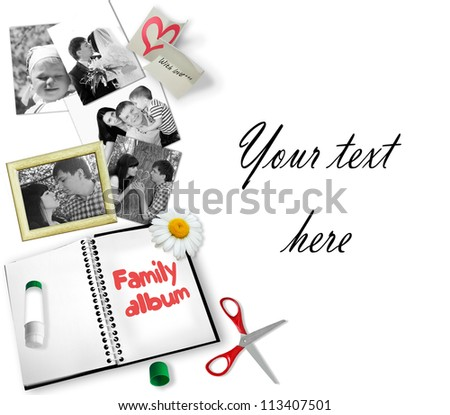 Photos background with different accessories  for making family album