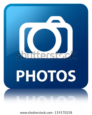 Photos glossy blue reflected square button