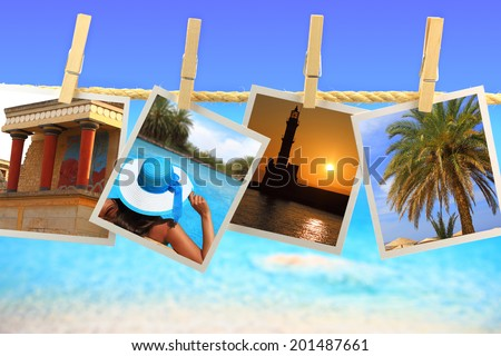 Photos of Crete island hanging on a rope in front of the sea