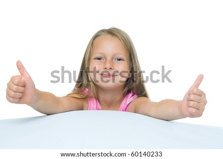 photos of girl with long hair, which shows the thumbs. Isolated on white.