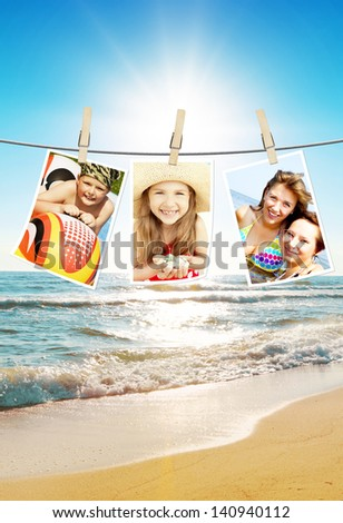 photos of holiday people hanging on clothesline with beach background
