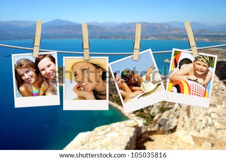 photos of holiday people hanging on clothesline with greek background