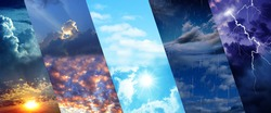 Photos of sky during different weather, collage. Banner design