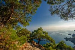 Photos of the Crimean peninsula overlooking the sea, the Tsarist coast, a fantastic place of beauty near the village of Novyi Svet,  Upland Karaul-Oba, Amphibian Man and Pirates of the 20th century