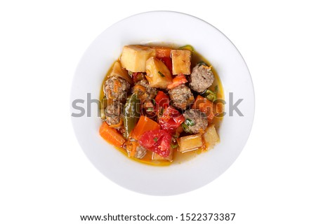 Photos of Turkey's Famous and Delicious Homemade Dishes for Hotel & Restaurant Orders and Menu and Internet and TV Advertising sebzeli kofte meatballs with vegetables Stok fotoğraf ©