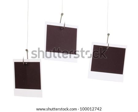 Photos on fish hooks isolated on white