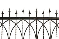 Photos wrought iron fence. isolated