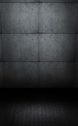Photoshoot backdrop template, with concrete planes and metal anti slip material, floor. A background Ideal for fashion, studio photography, or advertising product pack shots