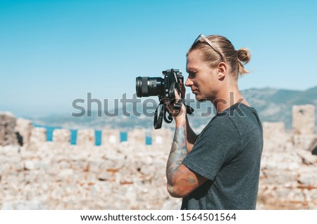 Phototgrapher making pictures of amazing landscape in Turkey