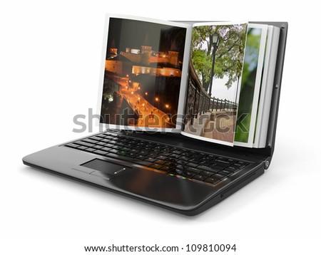 Photoviewer. Photo album as laptop screen. 3d