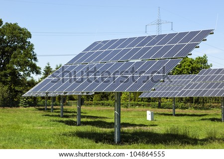Photovoltaic modules at small solar power station in rural Germany