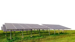 Photovoltaic modules for renewable energy, Solar module panels on white background with clipping path, concept of sustainable resources