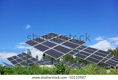 Photovoltaic panels in solar park.