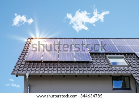 Photovoltaic panels on the roof #344634785