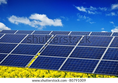 Photovoltaic renewable energy, green power, solar panel in nature environment