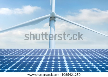 Photovoltaic Solar Cell, Solar panal with Wind turbines generating electricity,renewable energy source